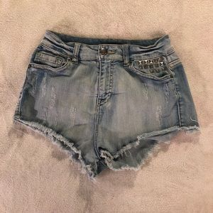 High waisted shorts with studs size S
